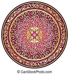 weinlese, gold-purple, runder , muster