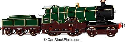 weinlese, grün, dampflokomotive