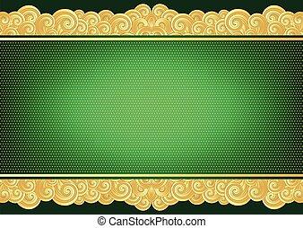 weinlese, grün, goldene karte