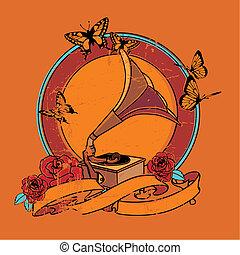 weinlese, grammophon, vignette, rosen