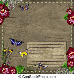 weinlese, hintergrund, mit, orchideen, für, dein, text