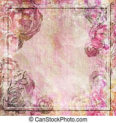 weinlese, hintergrund, mit, rosen, und, wirbel, umrandungen