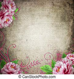 weinlese, hintergrund, rosen