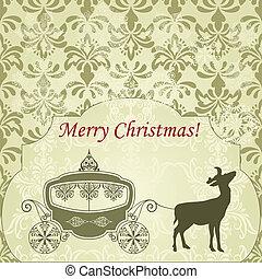 weinlese, hirsch, gruß, wagen, vektor, weihnachtskarte