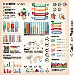 weinlese, infographic, elemente