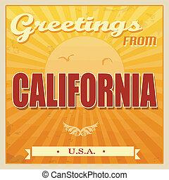 weinlese, kalifornien, usa., plakat