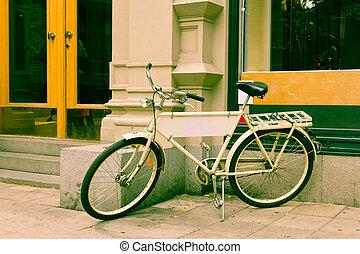 weinlese, klassisch, fahrrad, retro, stadt