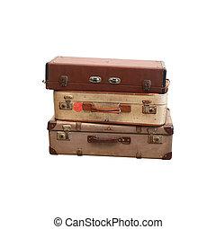 weinlese, koffer, weiß, hintergrund