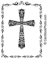 weinlese, kreuz, (black, dekoration, white), blumen-