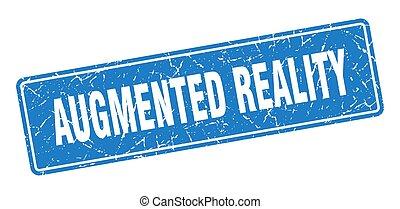 weinlese, label., zeichen, augmented, stamp., blaues, ...