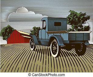 weinlese, lastwagen, szene, farbe