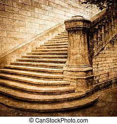 weinlese, mauerstein, treppenaufgang