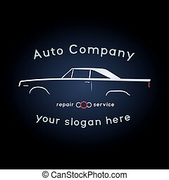 weinlese, muskel, auto, logo.