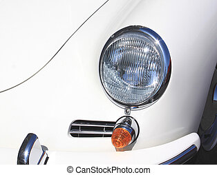 weinlese, nahaufnahme, scheinwerfer, weißes, auto