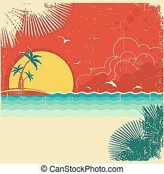 weinlese, natur, tropische , wasserlandschaft, hintergrund, mit, insel, und, handflächen, dekoration, auf, altes , papier, plakat, beschaffenheit