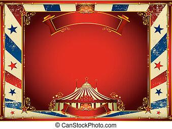 weinlese, oberseite, zirkus, hintergrund, groß, horizontal