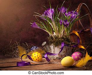 weinlese, ostern, karte, frühjahrsblumen, auf, a, hölzern,...