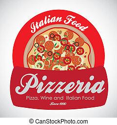 weinlese, pizzeria, etikett