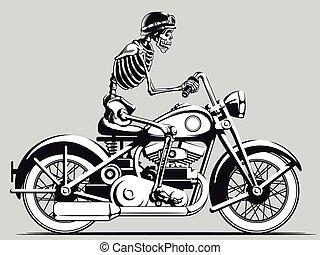 weinlese, radfahrer, vektor, skelett, silho
