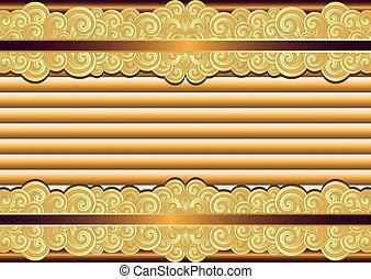 weinlese, rahmen, bronze, gold