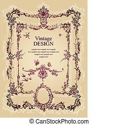 weinlese, rahmen, design, (vector)