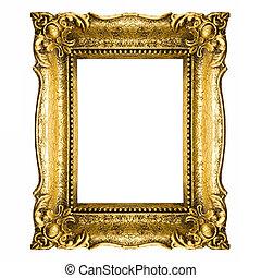 weinlese, rahmen, gold, bild