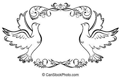 weinlese, rahmen, wedding