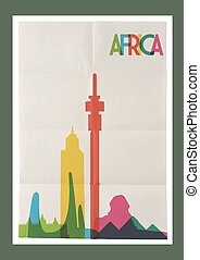 weinlese, reise, afrikas, skyline, plakat, wahrzeichen
