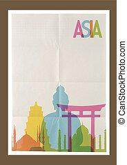 weinlese, reise, asia, skyline, hintergrund, wahrzeichen