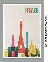 weinlese, reise, frankreich, skyline, plakat, wahrzeichen