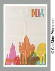 weinlese, reise, indien, skyline, plakat, wahrzeichen