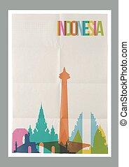 weinlese, reise, indonesien, skyline, plakat, wahrzeichen