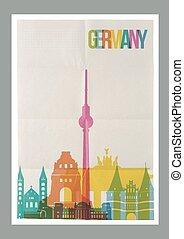 weinlese, reise, skyline, deutschland, plakat, wahrzeichen