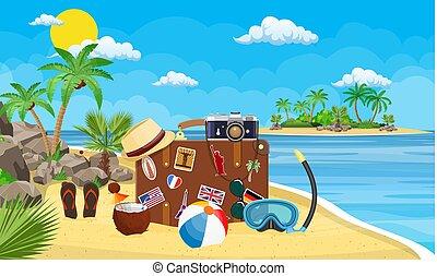 weinlese, reise, strand., altes , koffer