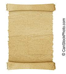 weinlese, rolle, von, pergament, hintergrund, freigestellt,...