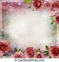 weinlese, rosa, und, grüner hintergrund, mit, rosen, (, 1,...