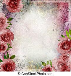 weinlese, rosa, und, grüner hintergrund, mit, rosen, (, 1, von, set)