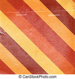 weinlese, rotes gelb, gestreift, papier, hintergrund