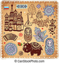 weinlese, satz, von, russische, heiligenbilder