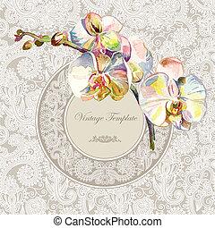 weinlese, schablone, mit, aquarell, orchidee, blume