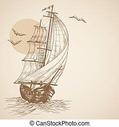 weinlese, segelboot