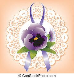 weinlese, spitze, mit, violett, stiefmütterchen