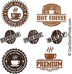 weinlese, stil, bohnenkaffee, briefmarken
