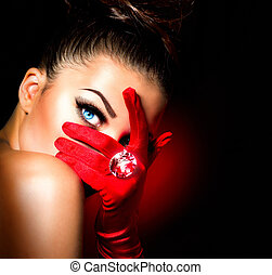 weinlese, stil, mysteriös, frau, tragen, rotes , glanz,...