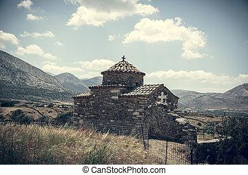 weinlese, stil, uralt, foto, griechische kirche