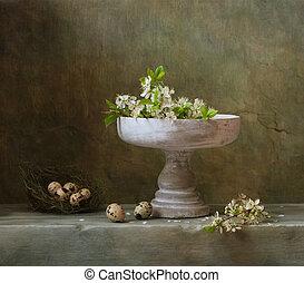 weinlese, stilleben, mit, kirsch blüte, und, wachtel, eier