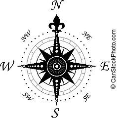 weinlese, symbol, kompaß