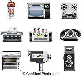 weinlese, technologien, ikone, satz