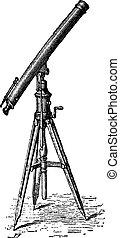 weinlese, teleskop, entdeckung, engraving.