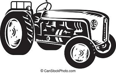 weinlese, traktor, retro, holzschnitt
